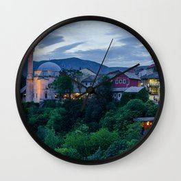 Evening Mostar city  Wall Clock