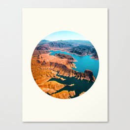 Mid Century Modern Round Circle Photo Burnt Sienna Landscape Meets Blue Turquoise Waters Canvas Print