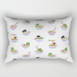 Send Noods - Ramen Noodles On Grey and White Rectangular Pillow