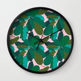 Tropicana Banana Leaves in Classic Pink Wall Clock
