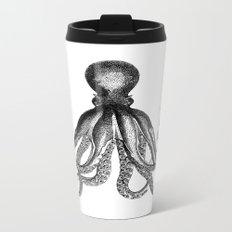 Octopus | Black and White Metal Travel Mug