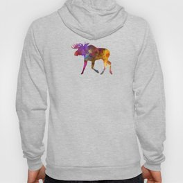 Moose 02 in watercolor Hoody