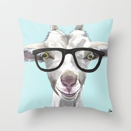 Goat with Glasses, Cute Farm Animal Throw Pillow