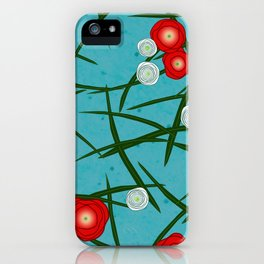 Japenese Water Flowers Pattern iPhone Case