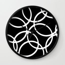 Interlocking White Circles Artistic Design Wall Clock