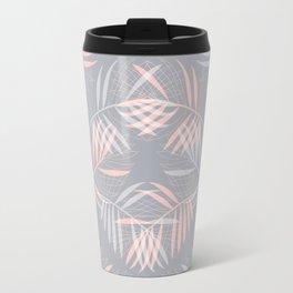 Palm leaves lace pattern on grey Travel Mug