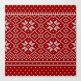 Christmas Snowflake Wool Pattern Canvas Print