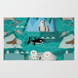 Arctic animals teal Rug