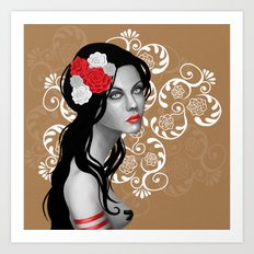 Goth Girl with Flowers in her Hair Art Print