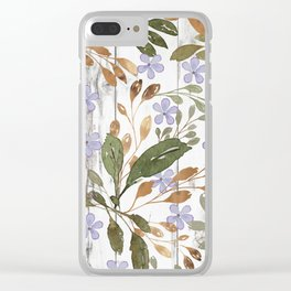 Rustic white wood green lavender watercolor floral Clear iPhone Case