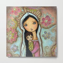 Madonna with Child and Flowers by Flor Larios Metal Print