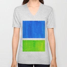 Abstract Minimalist Mid Century Modern Watercolor Geometric Squares Rothko Lime Green Marine Blue Unisex V-Neck