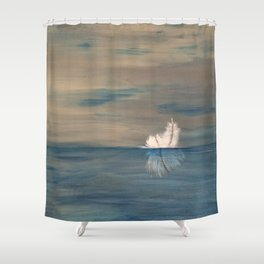 Floating Feather. Abstract Painting by Jodi Tomer. Abstract Feather on Water. Shower Curtain
