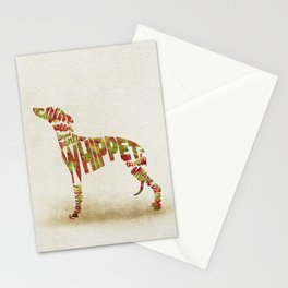 Whippet Dog Typography Art / Colorful Watercolor Painting - Portrait Stationery Cards