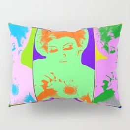 Poster with girl in popart style Pillow Sham