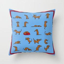 Sausage the Dog: Blue Print Throw Pillow