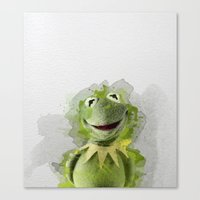 kermit Canvas Prints featuring Kermit by Gaboneto