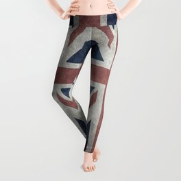 England's Union Jack flag of the United Kingdom - Vintage 1:2 scale version Leggings