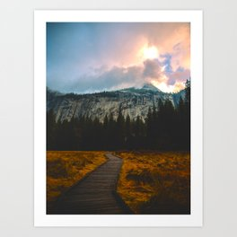 Path leading to Mountain Paradise Mountain Snow Capped Pine trees Tall Grass Sunrise Landscape Art Print