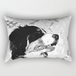 bernese mountain dog vector art black white Rectangular Pillow