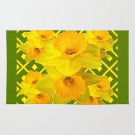 Moss Green Yellow Spring Daffodils Art Rug