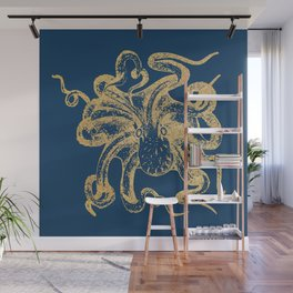 Gold octopus on deep blue background Wall Mural