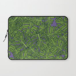 monstera leaves green purple Laptop Sleeve