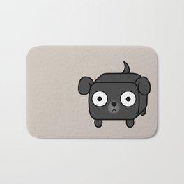 Pitbull Loaf - Black Pit Bull with Floppy Ears Bath Mat