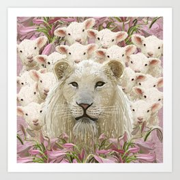 Lambs led by a lion Art Print