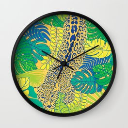 Leopard in the jungle Wall Clock