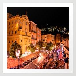 Cours Saleya Evening In Vieux Nice Art Print