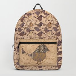 Nostalgic Autumn Patchwork Bird Pattern in warm retro colors #autumndecoration Backpack