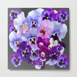 GREY VARIEGATED SPRING COLLECTION  PANSIES Metal Print
