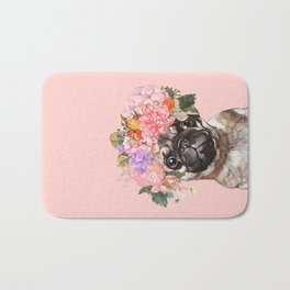 Pug with Flower Crown Bath Mat