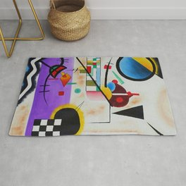 1924 Classical Masterpiece 'Contrasting Sounds' by Wassily Kandinsky Rug