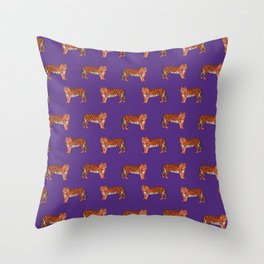 Tigers orange and purple clemson football fan varsity university college athletics Throw Pillow