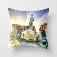 apollo Throw Pillows featuring Oh Apollo! by ExperienceTheFrenchRiviera