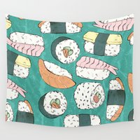 sushi Wall Tapestries featuring Sushi by Abi Woodhouse
