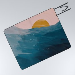 """""""One Wave At A Time"""" Picnic Blanket"""