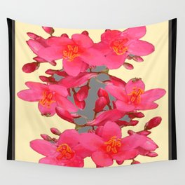 BLACK-PINK FLOWER BLOSSOMS YELLOW SPRING ART Wall Tapestry