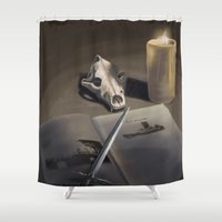 the hound Shower Curtains featuring The Hound by Rushelle Kucala Art