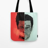 tyler durden Tote Bags featuring Tyler Durden V. the Narrator by qualitypunk