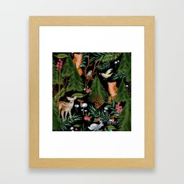 Winter Forest Animals Framed Art Print