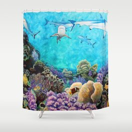 Shiver - Sharks in the Reef Shower Curtain