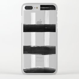 Black and White Brush Strokes Clear iPhone Case