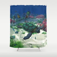 sea turtle Shower Curtains featuring Sea Turtle by Simone Gatterwe