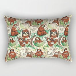 sloth in coffee pattern Rectangular Pillow