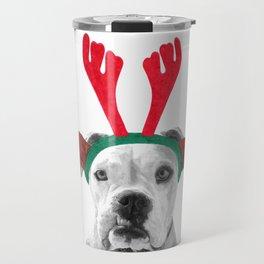 Black and White Boxer Christmas Travel Mug