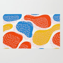 Abstract Orange, Blue & Yellow Memphis Pattern Rug