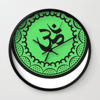 islam Wall Clocks featuring Black And Green Islam Religious Symbol by ArtOnWear